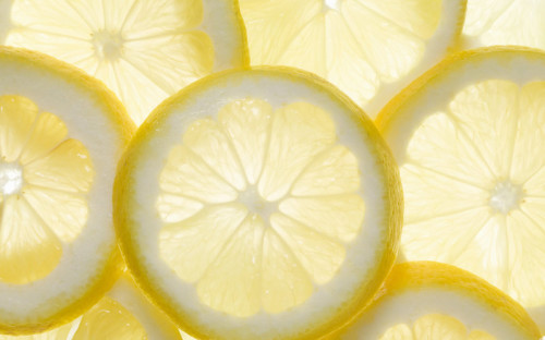 Several lemon slices, backlit